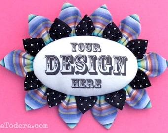 Fabric Flower Pin Brooch Personalized Pattern PDF Pattern Tutorial Kanzashi Flowers Headbands Hair Clip Bouquet Embellishment Sign La Todera