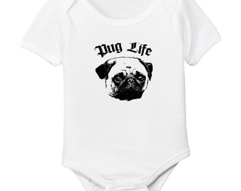 Pug Puglife Baby Organic Cotton Bodysuit