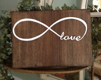 Love Infinity Wood Sign, Infinite Love Wood Sign, Infinity Love Wood Sign, Customizable Love Infinity Sign