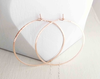 "Solid Rose Gold Wire Hoops, 1 1/2"" Hoops, Real 14k Rose Gold Earrings, Gold Wire Earrings, Hammered Hoops, Minimalist Earrings, Gift for Her"