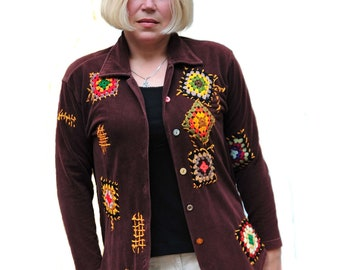 Shabby chic cardigan refashioned cardighan granny square patchwork creative cardigan altered couture  upcycled clothing