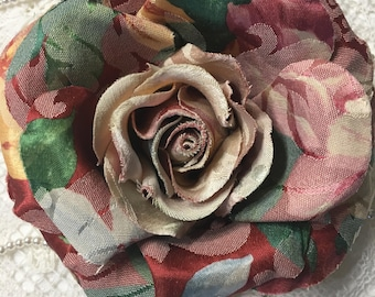 """1 Tapestry fabric flowers  6""""  for, pins, barrette, headband....."""