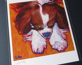 CAVALIER SPANIEL Dog 8x10 Signed Art Print from Painting by Lynn Culp