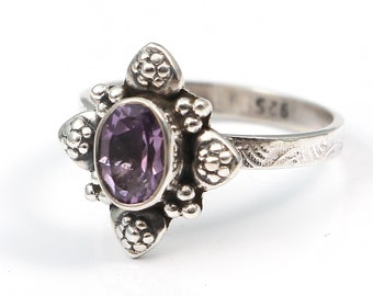Amethyst 92.5 sterling silver ring size 6 us