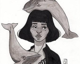 Whales (A5 Art Print)
