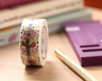 MT Washi Tape Flower White (MTMINA23) MT Masking Tape Spring & Summer Collection 2014