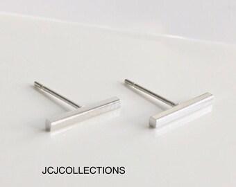 Tiny Bar Earrings, Square Bar. Earrings, Silver, Simple