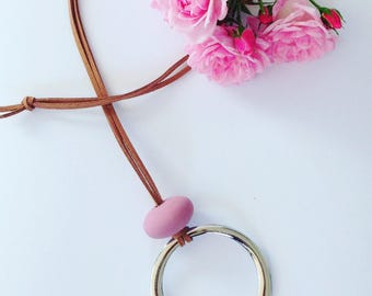Silver & Leather Dusty Pink Pendant Necklace