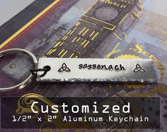 """Custom Personalized 1/2"""" x 2"""" Aluminum Key Chain Fob - Hand Stamped"""