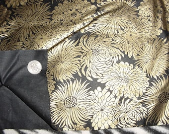 Vintage 80s Black Gold Lame Floral Print Material 2 1/3 yds by 45 inches