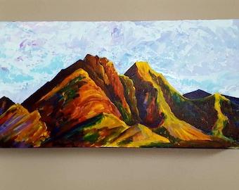Original Abstract Mixed Media Utah Mountain Painting - Modern Art Painting on Canvas (Untamed Sky), Living Room Wall Decor, Fine Art