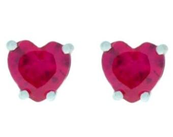 2 Ct Ruby Heart Stud Earrings .925 Sterling Silver Rhodium Finish