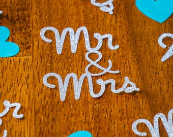 Silver Glitter and Teal Heart Mr and Mrs Wedding Confetti
