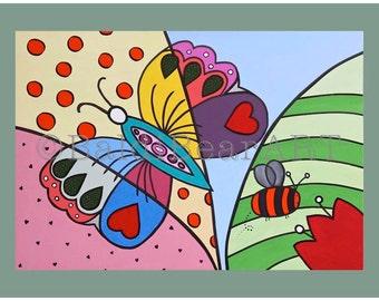 Art Print titled 'Butterfly', Nursery Art, Nursery Decor, Little Girls Room Decor, Butterfly, Summer, Bee, Green, Matted Art Print