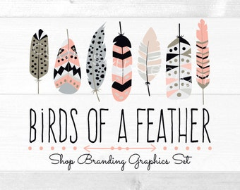 Tribal Feather Shop Branding Banners, Avatar Icons, Business Card, Logo Label + More - 13 Premade Graphics Files - BIRDS OF A FEATHER