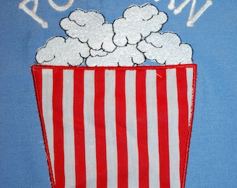 INSTANT DOWNLOAD Popcorn Applique Design Machine Embroidery Popcorn Container Embroidered