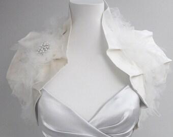 SALE Bridal bolero, bridal shrug, wedding Cape, silk shrug, tulle shrug, winter wedding, wedding gift, vintage style shrug, cape Style: Juno