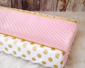 Gold polka dot, pink changing pad cover, gold satin trim and blush minky dot