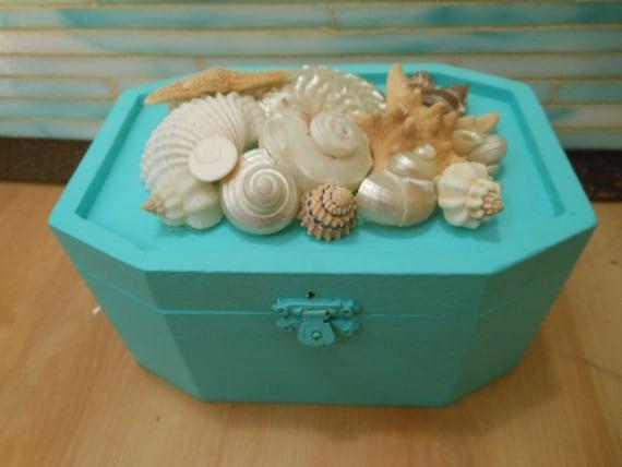 Beach Decor Seashell Jewelry Box Shell Box Turquoise