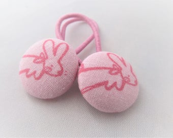 Pink Bunnies - Easter - Ponytail holders - fabric covered button hair ties