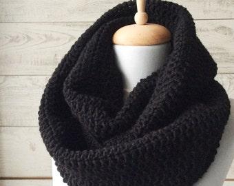 Black scarf, knit scarf, mens scarf, winter scarf, infinity scarf, wool scarf, black infinity scarf