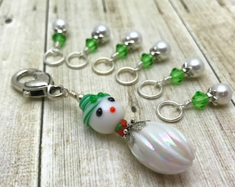 Snowman Stitch Marker Holder & Snag Free Stitch Markers - Gift for Knitters - Beaded Knitting Notions - Winter Theme Knitting Charm Jewelry
