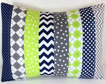 Pillow Cover, Cushion Cover, Nursery Decor, Baby Boy, Decorative Pillows, Pillow, 12 x 16, Navy Blue, Navy, Gray, Lime, Lime Green, Grey