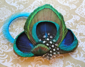 JULIE Peacock Feather Fascinator Clip Comb Headband, Wedding Couture