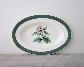 Small Oval China Platter Green Trim with Flower Myott England