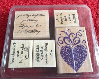 5 Rubber Stamps - Heart and Sentiments - Stampin Up