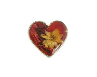 Flower Heart Pin