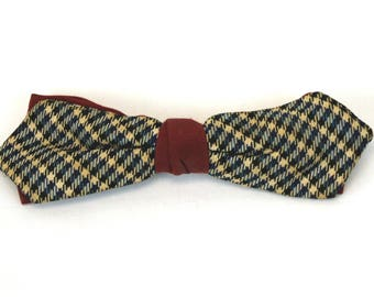 1950s bow tie Spiegler clip on bow tie checked blue gray with maroon two toned pre-formed tie