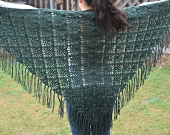 Hand knit green shawl with fringe