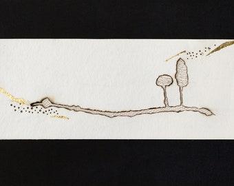 Burnt paper painting, bobbin lace and gold leaf, landscape