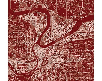 Kansas City MO Cityscape / Missouri Grad Gift Wall Art Poster / Graphic City Map Art Print / 8x10 Dorm Decor / Choose your color