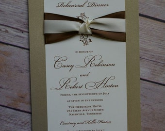 Traditional Mounted Invitations with Two Pieces of Double Faced Satin Ribbon