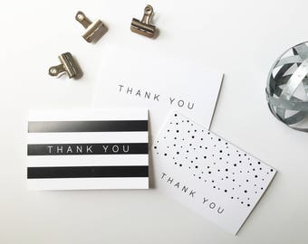Thank You Card Set, Minimalist Thank You Cards, Printed Cards, Thank You Notes, Wedding Thank You, Simple, Black and White, PHYSICAL PRINT