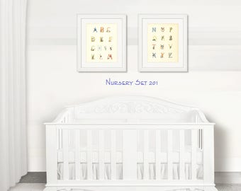 Nursery Wall Art   Nursery Decor   Alphabet Children's Prints   Baby Animal Nursery Decor   Set of 2 Prints   Nursery Prints   Home Decor