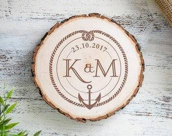 Engraved Wooden Tree Slice - Anchor & Sea Knot - Customised with Initials and Date of Your Choice - Gift for Couples - Gift for Sea Lovers