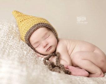 Newborn Baby Girl or Boy Crochet Pixie Bonnet Hat Photography Prop