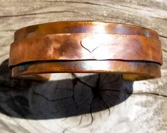 Copper Heart Cuff Bracelet
