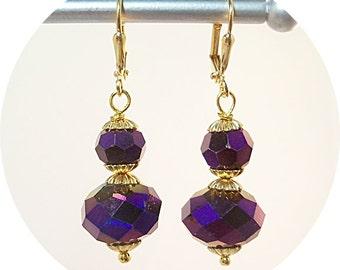 Purple Earrings, Dark Purple, Bridesmaid Earrings, Holiday Earrings, Purple and Gold, Dangle Earrings,Purple Wedding, Bridal Accessories
