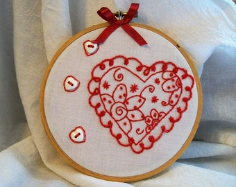 Hoop Art, Embroidery Hoop Art, Button Hoop Art, Embroidery Hoop Wall Art, Red Work Embroidery, Red Heart