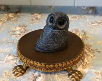 A Wolf Original Sculpture Soapstone Owl figurine ~ made in Canada ~