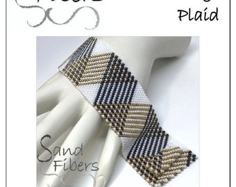 Peyote Pattern - Not Your Average Plaid Cuff / Bracelet - A Sand Fibers For Personal/Commercial Use PDF Pattern
