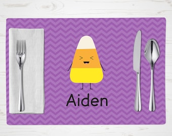 Personalized Halloween Placemat - Laughing Candy Corn - Child's Placemat - Personalized with Child's Name - Custom Placemat