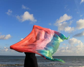 Summertime ... hand painted silk dance veil