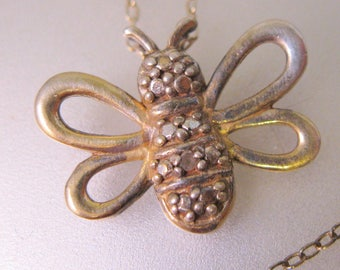 Bumble Bee Diamond Sterling Silver Vermeil Pendant Necklace Vintage Jewelry Vintage Necklace