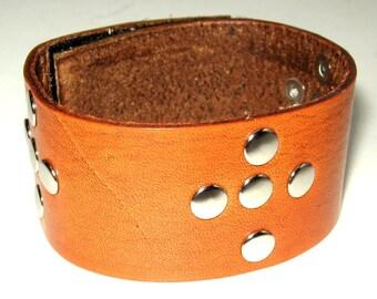 Tan Leather Cuff Medieval Bracelet SCA Barbarian Wristband Leather Bracelet Cross