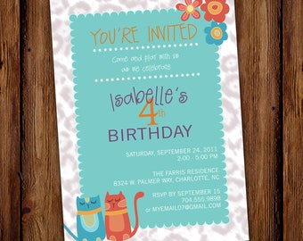 Cat Birthday Invitation - Girl Party - Kitten Animal Print - Printable File or Printed Invitations
